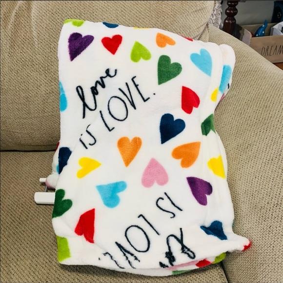 Rae Dunn LOVE IS LOVE rainbow hearts